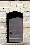 Traditional doorway in town of Bourdeilles near Brantome in Northern Dordogne, France