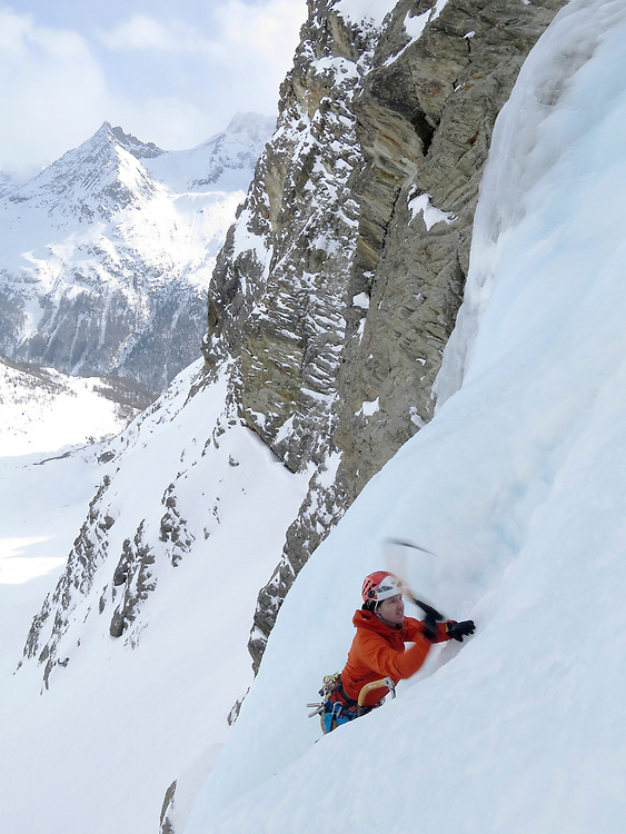 Ice climbing at Cascade d'Ignes, Arolla, Valais, Switzerland
