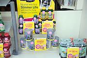 Health food slimming products in shop window display