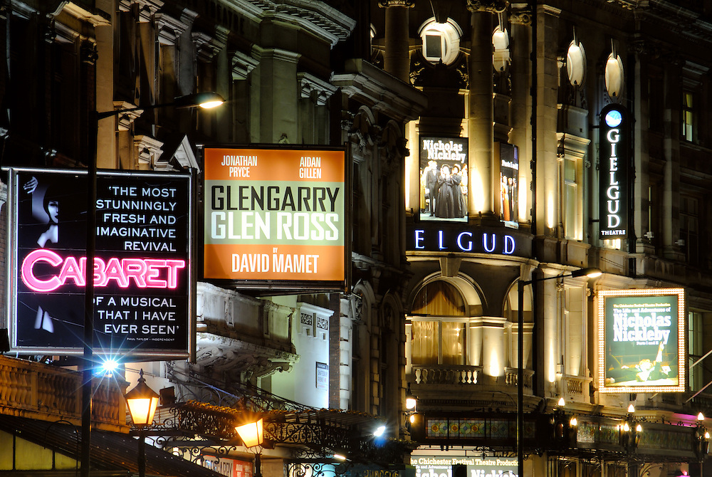 Shaftsbury Avenue, London, at night. Shaftsbury Avenue in Soho is the heart of London's theatre district.