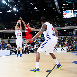 GB men vs Puerto Rico basketball at the Copper Box Arena. Alex Marcotullio (09) shoots for 3 points. 11/08/2013 (c) MATT BRISTOW
