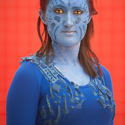 London, UK - 26 May 2013: Joy Carleton dressed as Mystique from X-men poses for a picture during the London Comic Con 2013 at Excel London. London Comic Con is the UK's largest event dedicated to pop culture attracting thousands of artists, celebrities and fans of comic books, animes and movie memorabilia.