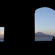 """The Vesuvius from the """"Castel de Ovo"""", Naples, Italy. Le Vésuve, vu depuis le """"Castel de Ovo"""", Naples, Italie."""