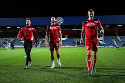 Marlon Pack, Aaron Wilbraham and Aden Flint of Bristol City warm up - Rogan Thomson/JMP - 18/10/2016 - FOOTBALL - Loftus Road Stadium - London, England - Queens Park Rangers v Bristol City - Sky Bet EFL Championship.