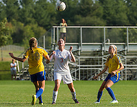 Laconia's Helen Toutkus heads the ball during NHIAA Division III Soccer with Kearsarge Wednesday afternoon.  (Karen Bobotas/for the Laconia Daily Sun)