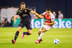 Marko Pjaca #20 of GNK Dinamo Zagreb vs Alexis Sanchez #17 of Arsenal F.C. during football match between GNK Dinamo Zagreb, CRO and Arsenal FC, ENG in Group F of Group Stage of UEFA Champions League 2015/16, on September 16, 2015 in Stadium Maksimir, Zagreb, Croatia. Photo by Ziga Zupan / Sportida