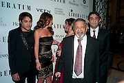 PABLO GANGULI; ELLA KRASNER;  SIR V.S. NAIPAUL; ,Ella Krasner and Pablo Ganguli host a Liberatum dinner in honour of Sir V.S.Naipaul. The Landau at the Langham. London. 23 November 2010. -DO NOT ARCHIVE-© Copyright Photograph by Dafydd Jones. 248 Clapham Rd. London SW9 0PZ. Tel 0207 820 0771. www.dafjones.com.