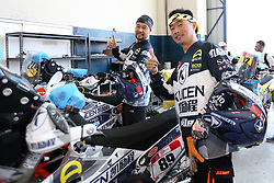 LIMA, Jan. 6, 2019 --.    Chinese rider Zhao Hongyi (L) and Zhang Min pose for photograph at the technical check-up area.    before the 2019 Dakar Rally Race, Lima, Peru, on Jan. 5, 2019. The 41st edition of Dakar Rally Race will take place in Peru from January 6 to 17, 2019 with a start and finish both in Lima. (Credit Image: © Xinhua via ZUMA Wire)