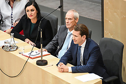 "27.05.2019, Hofburg, Wien, AUT, Sondersitzung des Nationalrates, Sitzung des Nationalrates aufgrund des Misstrauensantrags der Liste JETZT, FPOE und SPOE gegen Bundeskanzler Sebastian Kurz (OeVP) und die Bundesregierung, im Bild v.l. Elisabeth Köstinger (ÖVP), Eckart Ratz, Sebastian Kurz (ÖVP) // during special meeting of the National Council of austria due to the topic ""motion of censure against the federal chancellor Sebastian Kurz (OeVP) and the federal government"" at the Hofburg in Wien, Australia on 2019/05/27. EXPA Pictures © 2019, PhotoCredit: EXPA/ Lukas Huter"