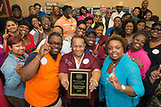 "Central Terminal staff celebrate being the winners of the ""Best Terminal Attendance STAAR Testing Week"" contest, April 11, 2014."