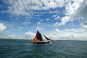 """Cian de Buitléir's  """"Star of the West""""  during  the Crinniu na mBad (Gathering of the boats) Festival  in Kinvara Co. Galway at the weekend featuring Galway hookers racing across the bay. Photo:Andrew Downes."""
