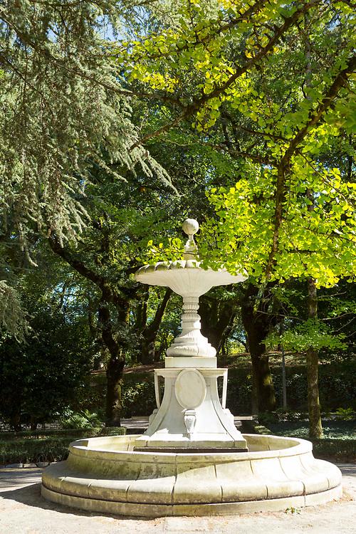SANTIAGO DE COMPOSTELA, SPAIN - 10th of October - Fountain statue in Alameda park, Santiago de Compostela, Galicia, Northern Spain Spain.