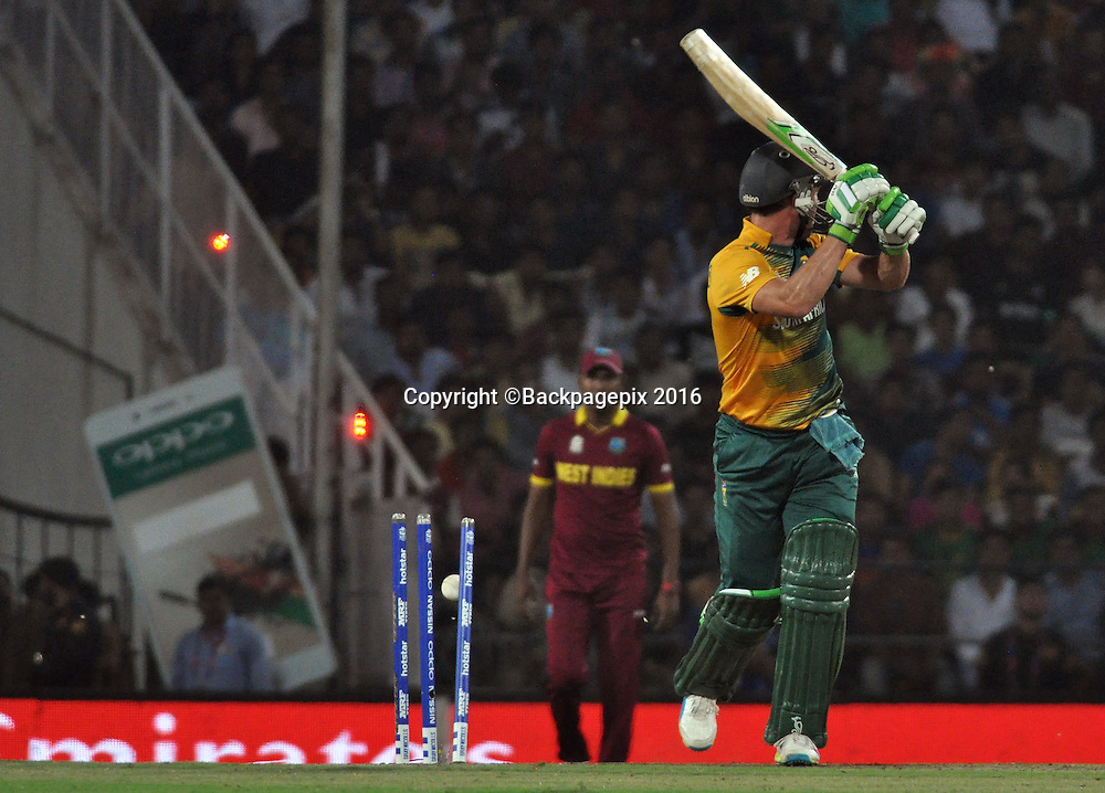 AB de Villiers of South Africa bowled by Dwayne Bravo of West Indies not in the picture during the 2016 ICC World T20 cricket match between South Africa and West Indies at Vidharbha Cricket Association, Jamtha, India on 25 March 2016 ©BackpagePix