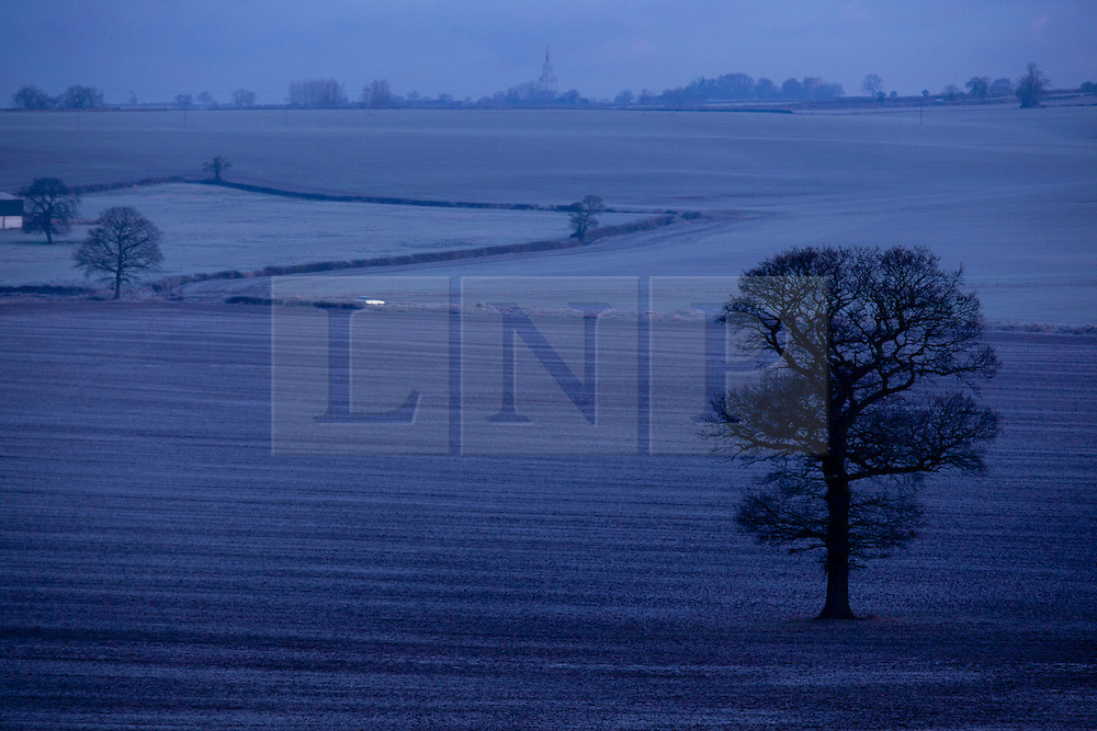 © Licensed to London News Pictures. 30/11/2012. Orton on the Hill, Leicestershire, UK. Frost covers the fields in Orton on the Hill, Leicestershire. Photo credit : Dave Warren/LNP