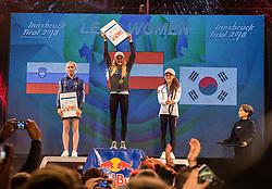 08.09.2018, Kletterzentrum, Innsbruck, AUT, IFSC, Kletter WM Innsbruck 2018, Siegerehrung, Damen, Vorstieg, im Bild v.l. Janja Garnbret (SLO, Silbermedaille), Jessica Pilz (AUT, 1. Platz, Goldmedaille), Jain Kim (KOR, Bronzemedaille) // f.l. silver medalist Janja Garnbret of Slovenia gold medalist and World Champion Jessica Pilz of Austria bronze medalist Jain Kim of Republic of Korea during winner ceremony of Womman Lead for the IFSC Climbing World Championships 2018 at the Kletterzentrum in Innsbruck, Austria on 2018/09/08. EXPA Pictures © 2018, PhotoCredit: EXPA/ Moritz Liebhaber