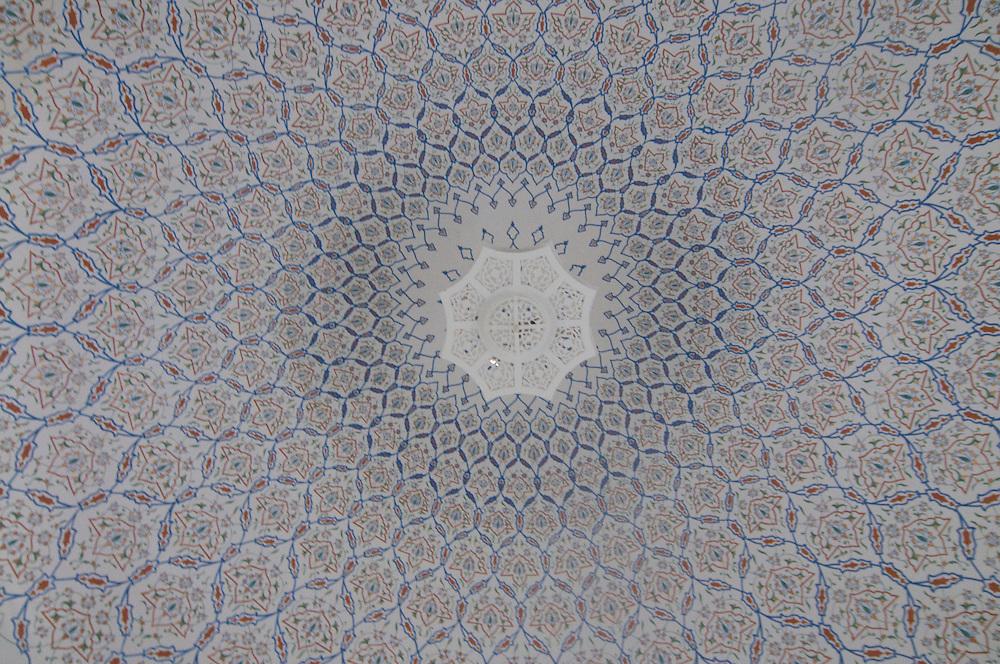 With mosaic decorated ceiling of cupola, Samarkand, Uzbekistan