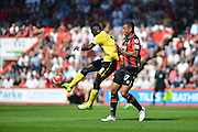Aston Villa's Idrissa Gueye and AFC Bournemouth's Joshua King during the Barclays Premier League match between Bournemouth and Aston Villa at the Goldsands Stadium, Bournemouth, England on 8 August 2015. Photo by Mark Davies.