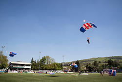 NEWTOWN, WALES - Sunday, May 6, 2018:  The RAF Falcons display parachuting team lands on the pitch before the FAW Welsh Cup Final between Aberystwyth Town and Connahs Quay Nomads at Latham Park. (Pic by Paul Greenwood/Propaganda)