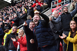 Fans celebrates as Sheffield United's Mark Duffy celebrates scoring his side's first goal of the game