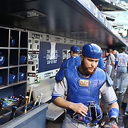 Catcher Russell Martin, Toronto Blue Jays, leaving the dugout to catch during the New York Mets Vs Toronto Blue Jays MLB regular season baseball game at Citi Field, Queens, New York. USA. 16th June 2015. Photo Tim Clayton