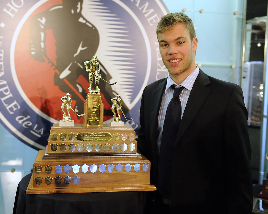 Taylor Hall of the Windsor Spitfires was presented with the Eddie Powers Memorial Trophy as co-winner of the OHL scoring title at the 2009-10 Ontario Hockey League Awards Ceremony at the Hockey Hall of Fame on Wednesday June 9, 2010. Photo by Aaron Bell/OHL Images