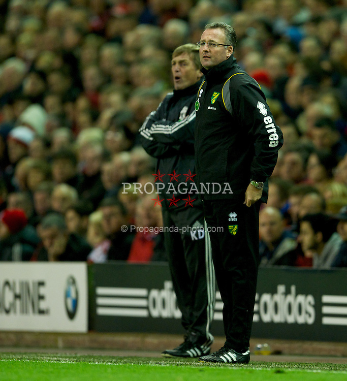 LIVERPOOL, ENGLAND - Saturday, October 22, 2011: Norwich City's manager Paul Lambert and Liverpool's manager Kenny Dalglish during the Premiership match at Anfield. (Pic by David Rawcliffe/Propaganda)