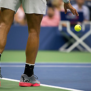 August 29, 2017 - New York, NY : The Spanish tennis player Rafael Nadal, prepares to serve as he competes against the Serbian player Dušan Lajović in Arthur Ashe Stadium on the second day of the U.S. Open, at the USTA Billie Jean King National Tennis Center in Queens, New York, on Tuesday. <br /> CREDIT : Karsten Moran for The New York Times