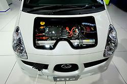 Detail of new Subaru R1e electric plug in car at the Frankfurt Motor Show 2009
