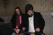 Jeremy Deller and Rory Crichton. Frieze Party Berlin. Stadtbad, Oderberger Strasse 57-59, Oderberger Strasse. Berlin. 23 March 2006. ONE TIME USE ONLY - DO NOT ARCHIVE  © Copyright Photograph by Dafydd Jones 66 Stockwell Park Rd. London SW9 0DA Tel 020 7733 0108 www.dafjones.com