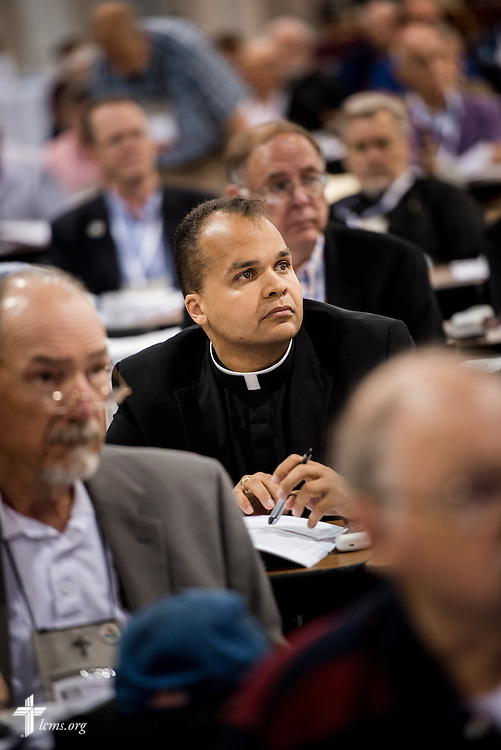 The Rev. Dr. Dien Ashley Taylor, pastor of Redeemer Evangelical Lutheran Church in Bronx, N.Y., listens on Wednesday, July 13, 2016, at the 66th Regular Convention of The Lutheran Church–Missouri Synod, in Milwaukee. LCMS/Michael Schuermann