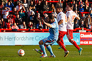Darius Charles of Stevenage scores his first goal of the game to make it 2-0 during the Sky Bet League 1 match at the Lamex Stadium, Stevenage<br /> Picture by David Horn/Focus Images Ltd +44 7545 970036<br /> 08/03/2014