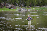 Fly fisherman testing his luck in the Madison River in Southwest Montana