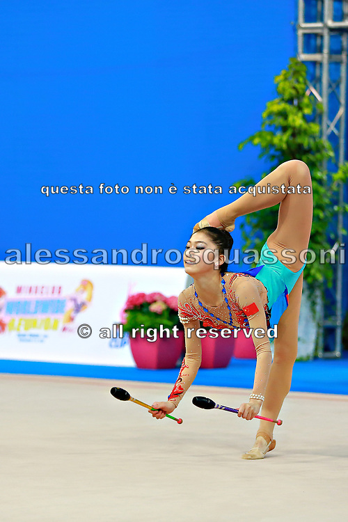 Liu Jiahui during qualifying at clubs in Pesaro World Cup at Adriatic Arena on 11 April 2015. Jiahu is a Chinese individual rhythmic gymnast born March 31, 1996 in Handan, China.