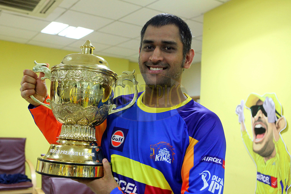 MS Dhoni  with the IPL Season 4 trophy during the final of the Indian Premier League ( IPL ) Season 4 between the Chennai Superkings and the Royal Challengers Bangalore held at the MA Chidambaram Stadium in Chennai, Tamil Nadu, India on the 28th April 2011..Photo by Ron Gaunt/BCCI/SPORTZPICS