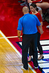 BLOOMINGTON, IL - September 14:  Official Dean Hoskin and Leah Johnson discuss a call during a college Women's volleyball match between the ISU Redbirds and the University of Central Florida (UCF) Knights on September 14 2019 at Illinois State University in Normal, IL. (Photo by Alan Look)