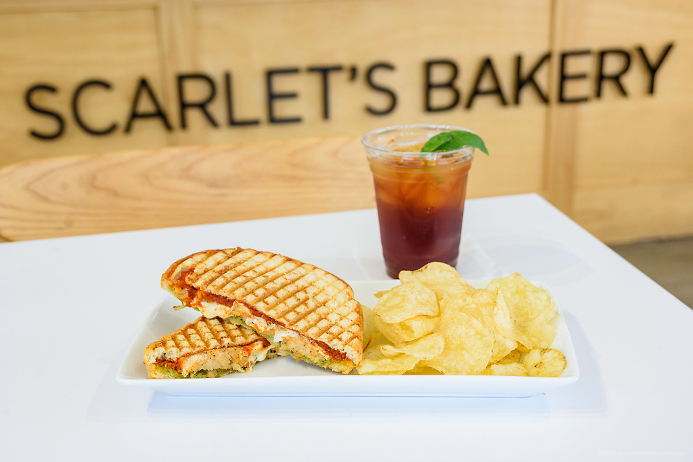 The grilled chicken pesto panini at Scarlet's Bakery, 741 E. Oak, at the corner of Oak and Shelby Streets in the Smoketown neighborhood. April 18, 2018