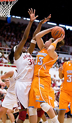 December 19, 2009; Stanford, CA, USA;  Tennessee Lady Volunteers guard Taber Spani (13) is defended by Stanford Cardinal forward Nnemkadi Ogwumike (30) during the second half at Maples Pavilion.  Stanford defeated Tennessee 67-52.