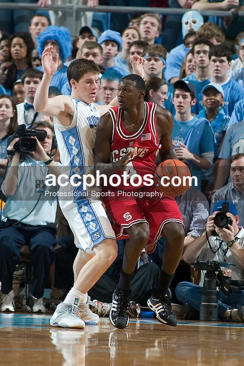 21 February 2007: North Carolina State Wolfpack guard Courtney Fells (4) during a 83-64 to the North Carolina Tar Heels, in the Dean E. Smith Center in Chapel Hill, NC.