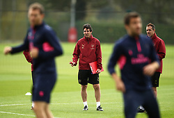 Arsenal manager Unai Emery during the training session at London Colney, Hertfordshire.