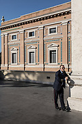 Rome, Vatican Museums, a guardian at the entrance of pinacoteca