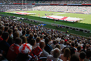 England flags on the pitch before the International Test Match match at Twickenham Stadium, Twickenham<br /> Picture by Andrew Tobin/Focus Images Ltd +44 7710 761829<br /> 01/06/2014