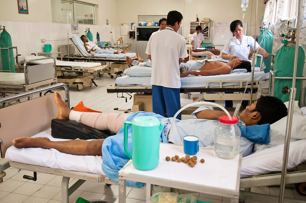 Landmine and trauma victims recieve treatment from staff at the Emergency Life Support For Civilian War Victims hospital in Battambang, Cambodia.