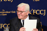 President of Germany Frank-Walter Steinmeier speaks at the Foreign Correspondents' Club of Japan in Tokyo, Japan, 07 February 2018. Steinmeier delivered his views to the media on the European perspective on regional stability in East Asia. During his visit in Japan, Steinmeier is scheduled to meet with Japanese Prime Minister Shinzo Abe where the two leaders will then visit South Korea together to attend the opening ceremony of the PyeongChang Winter Olympics. 07/02/2018-Tokyo, JAPAN
