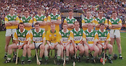 All Ireland Senior Hurling Championship - Final, .13.09.1998, 09.13.1998, 13th September 1998, .13091998AISHCF,.Senior Kilkenny v Offaly, .Minor Kilkenny v Cork,.Offaly 2-16, Kilkenny 1-13,.Statoil, .Offaly, back row, Kevin Martin, Johnny Pilkington, Michael Duignan, Kevin Kinahan, Hubert Rigney captain, Joe Errity, Johnny Dooley, Brian Whelehan, Front row, Billy Dooley, Paudie Mulhare, Stephen Byrne, Simon Whelahan, Joe Dooley, John Troy, Martin Hanamy,