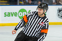 KELOWNA, CANADA - FEBRUARY 23:  Referee Chris Crich skates at the Kelowna Rockets against the Kamloops Blazers on February 23, 2019 at Prospera Place in Kelowna, British Columbia, Canada.  (Photo by Marissa Baecker/Shoot the Breeze)