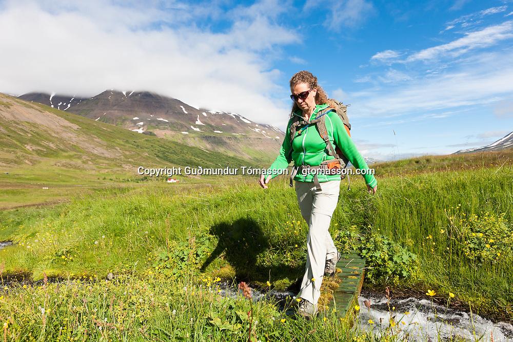 Anna Dóra Hermannsdóttir hiking at Klængshóll travel farm, Skíðadalur, North Iceland.