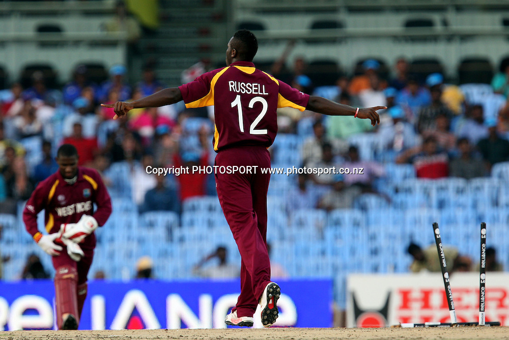 West Indies bowler Andre Russell  taken ( 4 wickets ) during the ICC Cricket World Cup - 36th Match, Group B England vs West Indies Played at MA Chidambaram Stadium, Chepauk, Chennai (neutral venue) 17 March 2011 - day/night (50-over match)