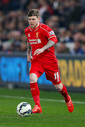 Alberto Moreno of Liverpool in action - Photo mandatory by-line: Rogan Thomson/JMP - 07966 386802 - 16/03/2015 - SPORT - FOOTBALL - Swansea, Wales — Liberty Stadium - Swansea City v Liverpool - Barclays Premier League.