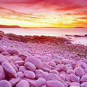 Boulder Beach in Acadia National Park at sunrise. Mount Desert Island, Maine
