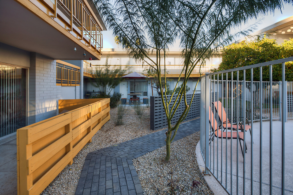 Courtyard in the Aura apartment complex remodeled by Mod Architecture and Planning, Phoenix, Arizona